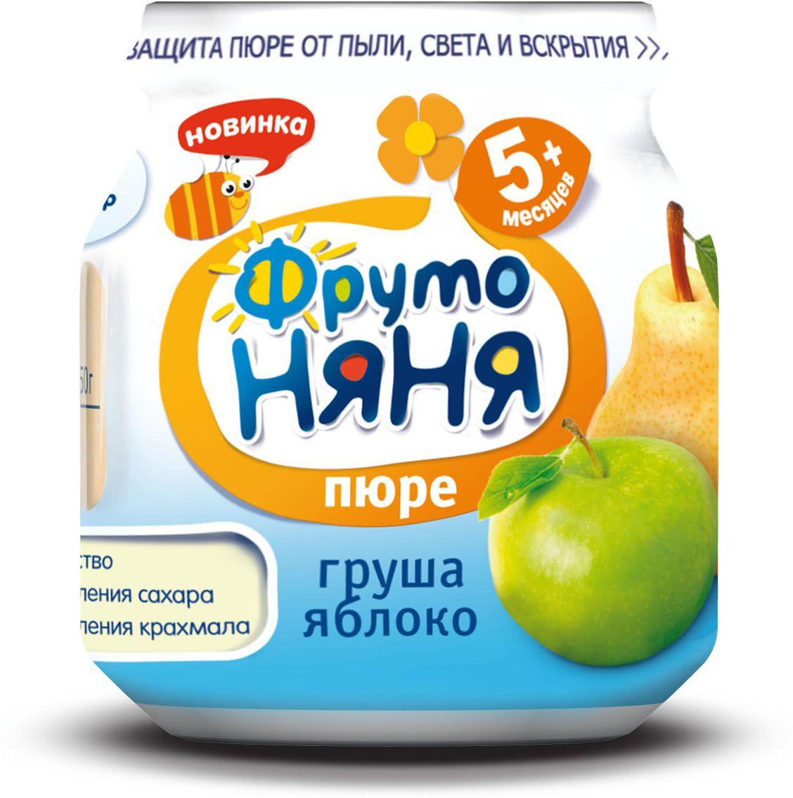 ФрутоНяня пюре из груш и яблок с 5 месяцев, 100 гP071174100% качествобез добавления сахарабез добавления крахмала