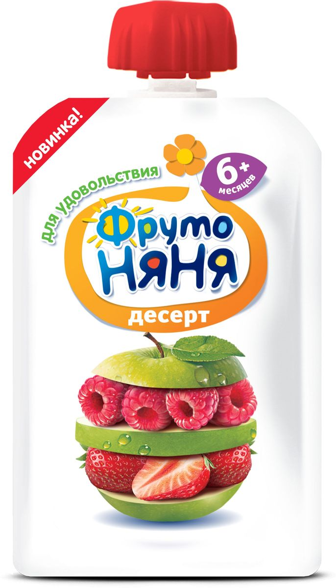 ФрутоНяня пюре десерт из малины, клубники с яблоком с 6 месяцев, 90 гP079019Колпачки на пюре ФрутоНяня могут быть использованы в качестве элементов детского конструктора.