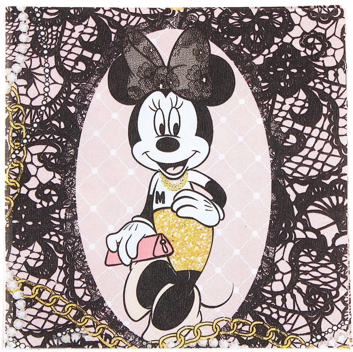 Салфетка для декупажа Disney Минни Маус. Стильная штучка, 33 х 33 см1189474Салфетка для декупажа изготовлена из тонкой, но качественной бумаги. Легко приклеится к основе и сохранит при этом насыщенность красок и четкость линий.Создавайте свои уникальные шедевры!