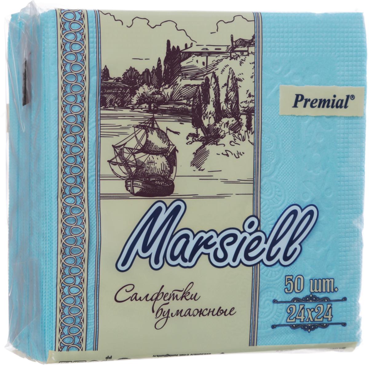 Premial Marsiel Салфетки декоративные двухслойные, цвет: голубой, 50 шт