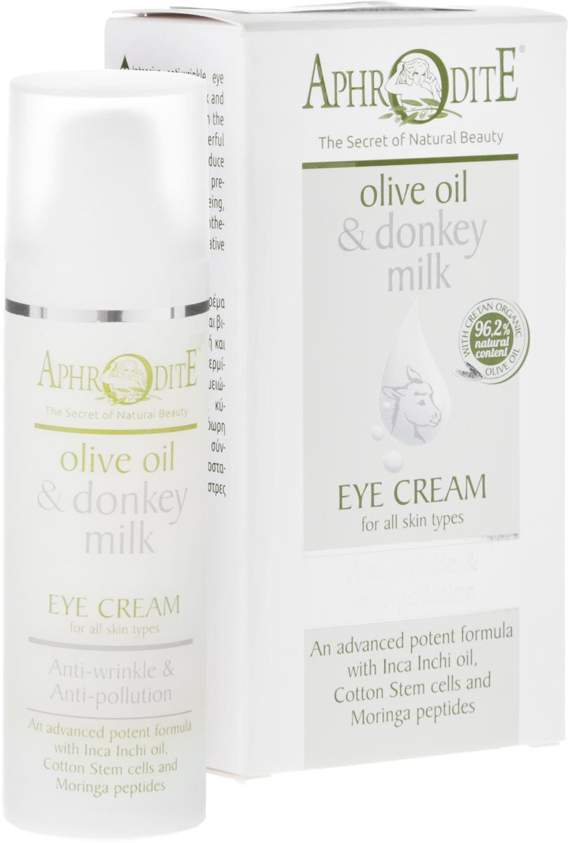 Aphrodite Омолаживающий крем для кожи вокруг глаз, 30 млD-18Кожа вокруг глаз тонкая и чувствительная. Ей нужен деликатный и регулярный уход для сохранения красоты и молодости. Крем для кожи вокруг глаз инновационной серии Эликсир Молодости на основе оливкового масла и молока ослиц - это симбиоз современных технологий и старинных греческих рецептов, базирующийся исключительно на мощных натуральных ингредиентах. Крем содержит такие активные ингредиенты для омоложения кожи, как масла инка-инчи, энотеры, арганы, дерева ши, а также пептиды, коэнзим Q10 и гиалуроновую кислоту с низким молекулярным весом. Они помогают стимулировать синтез коллагена, увлажняют, защищают от окислительного стресса и предотвращают появление морщин. Красные водоросли, эсцин конского каштана, кверцетин софоры японской, полифенолы виноградного сока и витамин E гармонично дополняют супер-коктейль натуральных ингредиентов для улучшения текстуры кожи, увеличения ее упругости и эластичности. Антивозрастной комплекс из антиоксидантов и стволовых клеток хлопка создает природный защитный барьер и защищает от вредных факторов окружающей среды. Тёмные круги и отёчность уменьшаются, благодаря чему нежная кожа вокруг глаз выглядит значительно свежее и моложе. Все натуральные компоненты крема эффективно объединены для того, чтобы женщина в любом возрасте выглядела юной и очаровательной. Продукция не содержит парабенов, искусственных красителей и животных жиров.