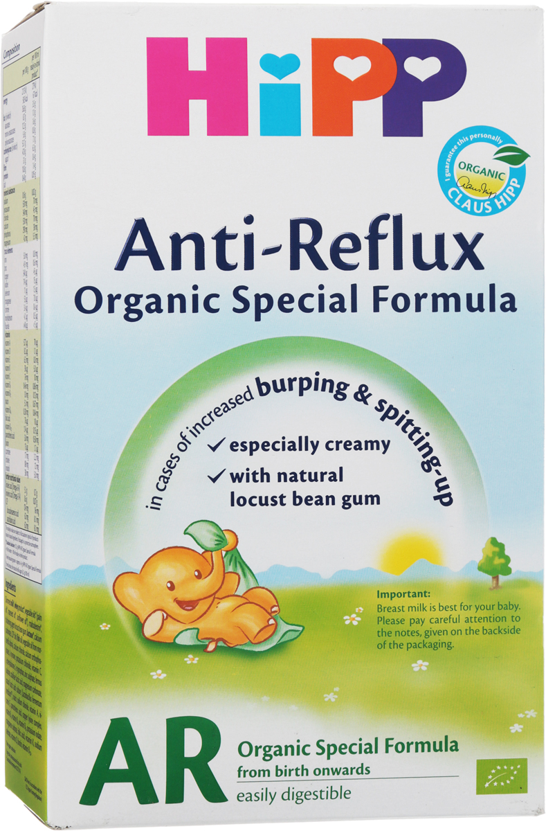 Hipp Anti-Reflux смесь молочная, с рождения, 300 г9062300126355Заменитель Hipp Anti-Reflux - антирефлюксная сухая адаптированная молочная смесь, предназначенная специально для кормления младенцев.При кормлении этой молочной смесью за счет повышения вязкости содержимого желудка сокращается обратный приток в пищевод, поэтому пища остается в желудке и снижается частота и интенсивность срыгиваний. Смесь содержит все необходимые малышу питательные вещества.Уважаемые клиенты! Обращаем ваше внимание, что полный перечень состава продукта представлен на дополнительном изображении.