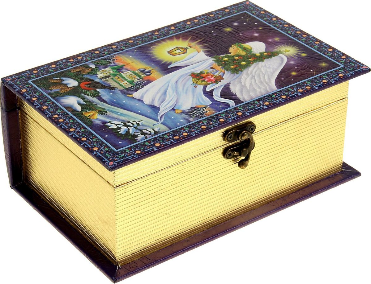 Шкатулка Sima-land Ангел рождества, цвет: синий, 23 х 15 х 9 см1053596Шкатулка — это небольшой сувенир, а также оригинальная упаковка подарка. Она дополнит интерьер спальни, гостиной или прихожей. Шкатулка выполнена из дерева и стилизована под книгу с золотым срезом. Изделие предназначено для хранения украшений: колец, браслетов, часов, цепочек, колье, сережек и прочих предметов.