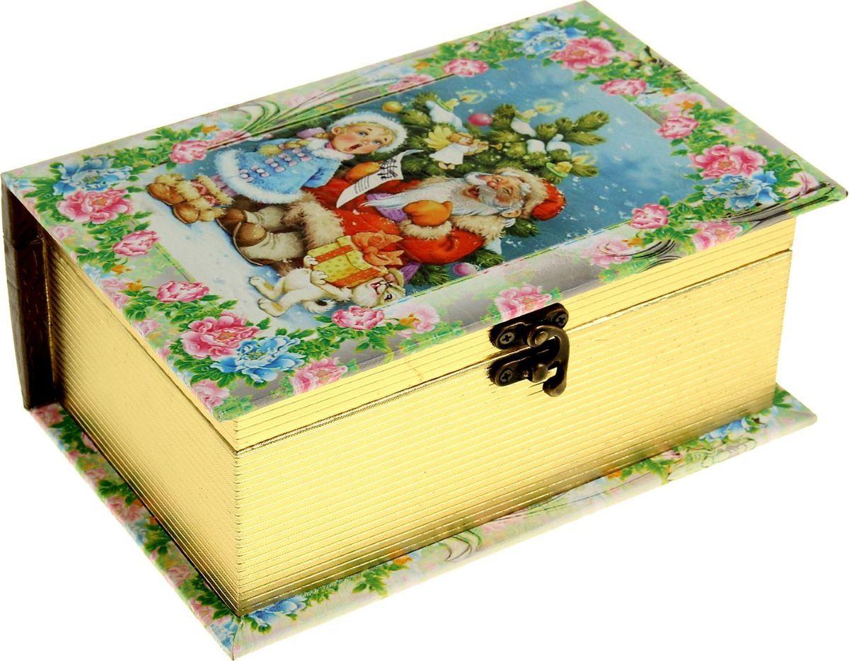Шкатулка Sima-land Новогодние песенки, цвет: светло-зеленый, 23 х 15 х 9 см открытка объемная sima land колокольчики 15 х 15 см