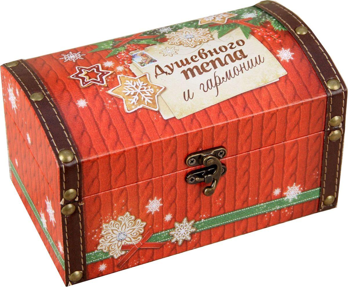 Шкатулка Sima-land Душевного тепла и гармонии, цвет: оранжевый, 19 х 11 х 10,8 см1965026Шкатулка — это небольшой сувенир, а также оригинальная упаковка подарка. Она дополнит интерьер спальни, гостиной или прихожей. Изделие предназначено для хранения украшений: колец, браслетов, часов, цепочек, колье, сережек и прочих предметов.