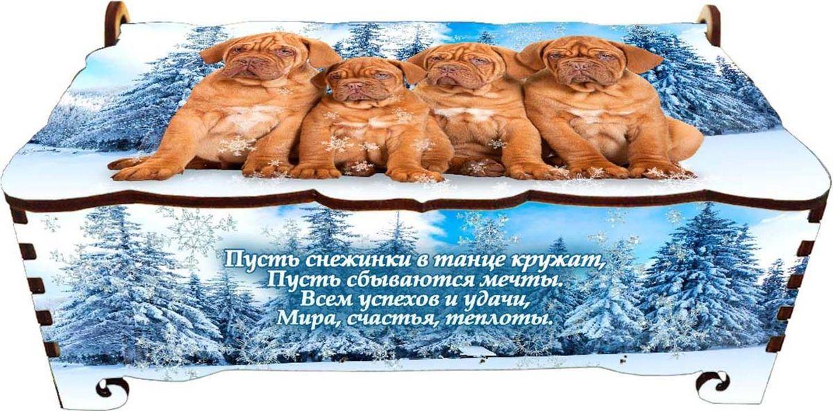 Шкатулка Sima-land Четыре собаки, цвет: голубой, 17 х 9 х 6 см sima land мебель для кукол гостиная 11 предметов 730418