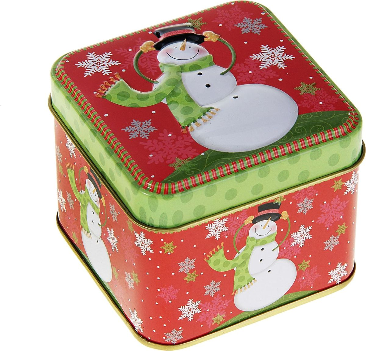 Шкатулка Sima-land Снеговик, цвет: красный, 7,5 х 7,5 х 6,5 см233133Шкатулка — это небольшой сувенир, а также оригинальная упаковка подарка. Она дополнит интерьер спальни, гостиной или прихожей. Изделие предназначено для хранения украшений: колец, браслетов, часов, цепочек, колье, сережек и прочих предметов.