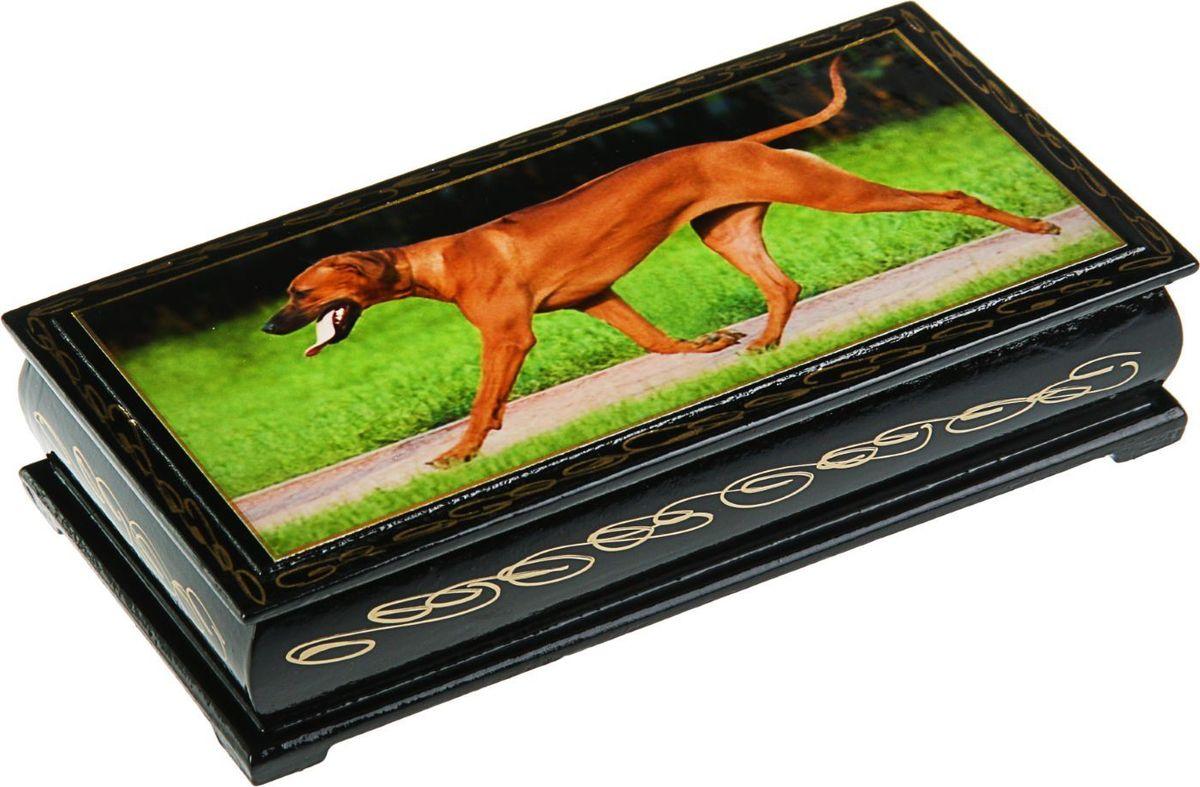 Шкатулка Sima-land Собаки. Лаковая миниатюра, цвет: черный, 8,5 х 17 см. 15301152431147Шкатулка — это небольшой сувенир, а также оригинальная упаковка подарка. Она дополнит интерьер спальни, гостиной или прихожей. Изделие предназначено для хранения украшений: колец, браслетов, часов, цепочек, колье, сережек и прочих предметов.