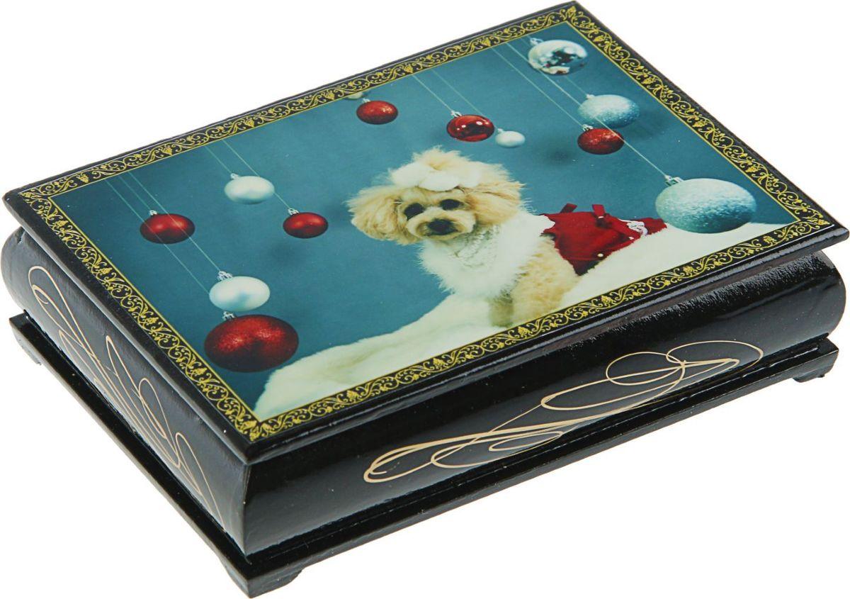 Шкатулка Sima-land Собаки, цвет: черный, 10 х 14 см. 24542722454270Шкатулка — это небольшой сувенир, а также оригинальная упаковка подарка. Она дополнит интерьер спальни, гостиной или прихожей. Изделие предназначено для хранения украшений: колец, браслетов, часов, цепочек, колье, сережек и прочих предметов.