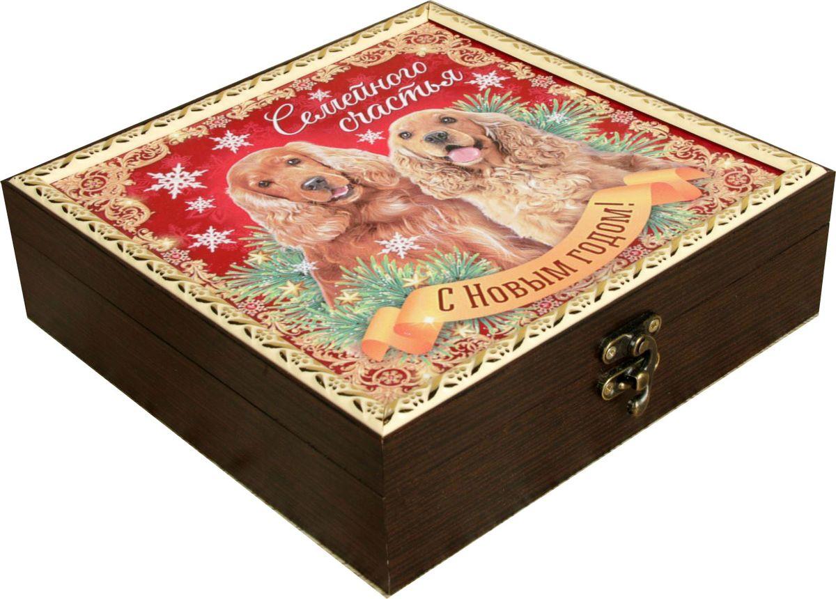 Шкатулка АГТ-Профиль Семейного счастья, цвет: коричневый, 20 х 20 х 6,5 см2471954Шкатулка — это небольшой сувенир, а также оригинальная упаковка подарка. Она дополнит интерьер спальни, гостиной или прихожей. Изделие предназначено для хранения украшений: колец, браслетов, часов, цепочек, колье, сережек и прочих предметов.