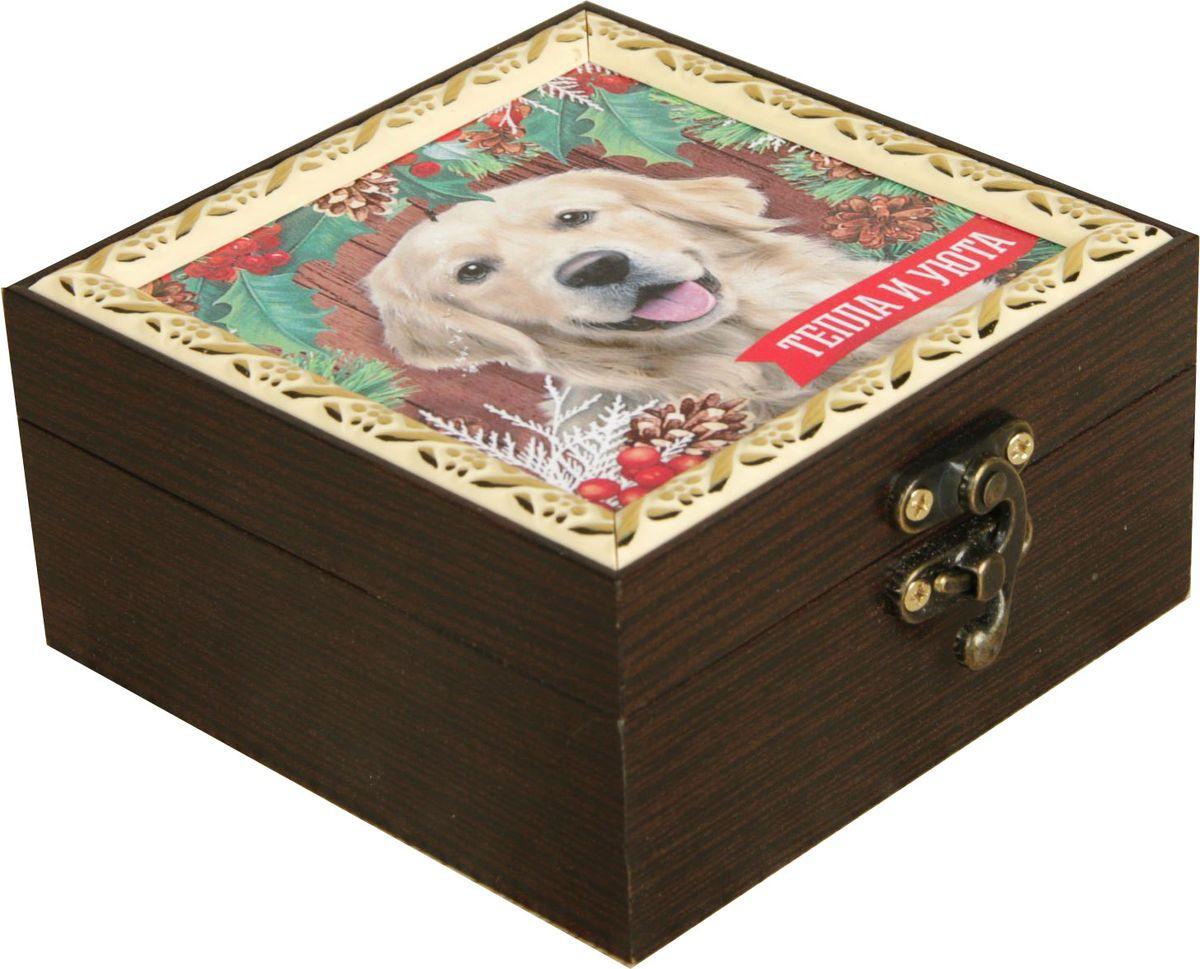 Шкатулка АГТ-Профиль Тепла и уюта, цвет: коричневый, 12 х 12 х 6,5 см2471962Шкатулка — это небольшой сувенир, а также оригинальная упаковка подарка. Она дополнит интерьер спальни, гостиной или прихожей. Изделие предназначено для хранения украшений: колец, браслетов, часов, цепочек, колье, сережек и прочих предметов.