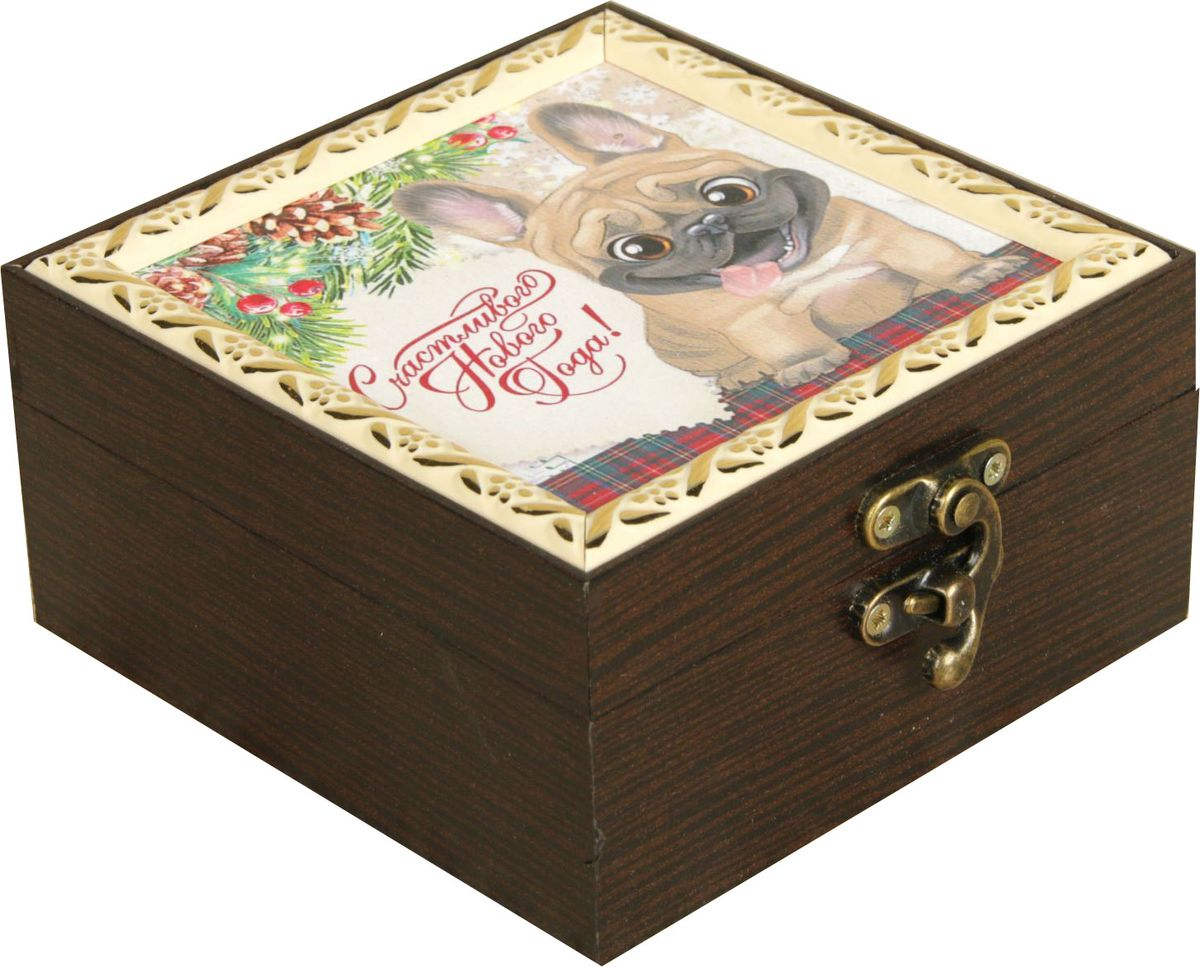 Шкатулка АГТ-Профиль Счастливого Нового года, цвет: коричневый, 12 х 12 х 6,5 см2471966Шкатулка — это небольшой сувенир, а также оригинальная упаковка подарка. Она дополнит интерьер спальни, гостиной или прихожей. Изделие предназначено для хранения украшений: колец, браслетов, часов, цепочек, колье, сережек и прочих предметов.