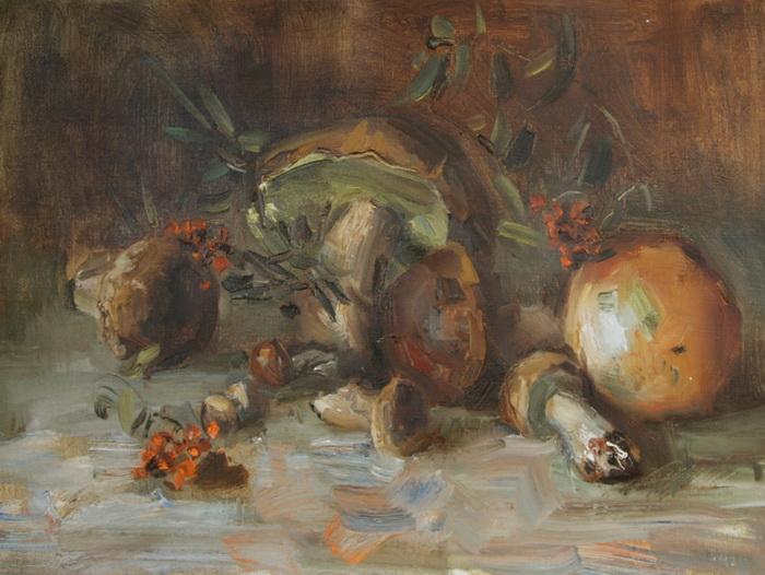 Картина Грибы. Холст, масло. 43х58 см вигантол в аптеках красноярска