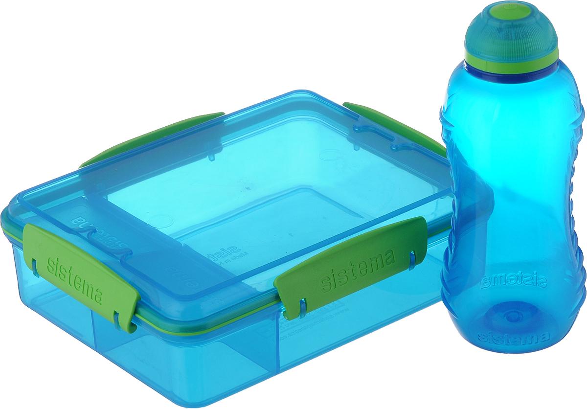 """Набор Sistema """"Lunch"""" изготовлен из высококачественного пластика. Набор состоит из контейнера и бутылки для воды.Контейнер плотно закрывается крышкой с силиконовой вставкой. Внутри контейнер имеет одно большое отделения и два меленьких, закрывающихся крышками. В большое отделение можно положить обед, а в маленькие, к примеру, положить специи или соус.Размер контейнера: 19 х 15 х 6 см.размер большого отделения: 14,5 х 13 см.Размер маленького отделения: 5 х 7 см.Бутылка для воды изготовлена из прочного пищевого пластика без содержания фенола и других вредных примесей. Рельефная поверхность бутылки со специальными выемками для удобного хвата. Бутылка имеет удобную запатентованную систему крышки """"Twist"""