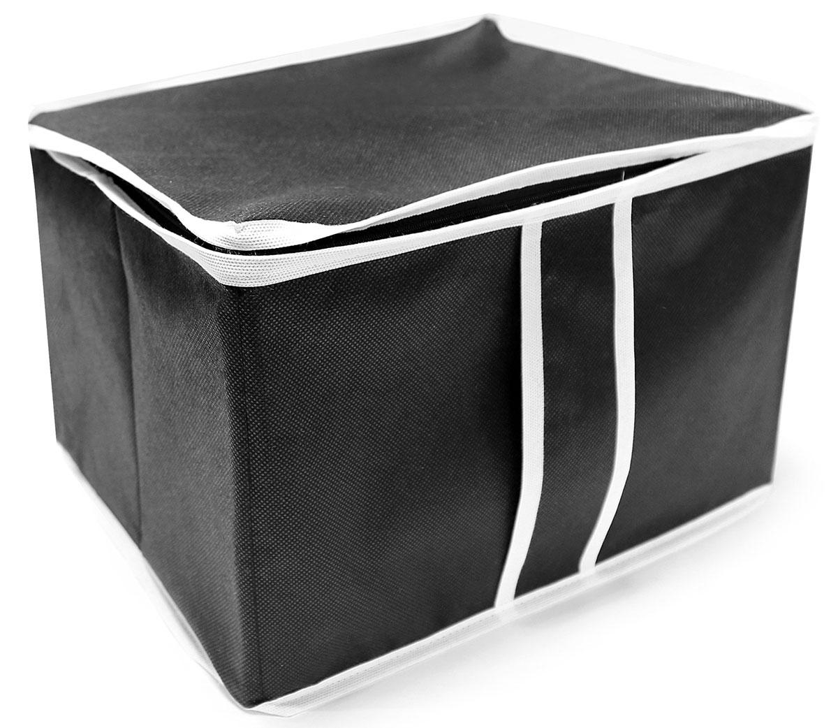 Органайзер для хранения Ева, цвет: черный, 35 х 30 х 25 смЯ4610Раскладная коробка для стеллажей и антресолей из спанбонда. Позволит сэкономить место при хранении. Закрывается крышкой на молнии, твердые стенки и дно. Изготовлена из дышашего материала.