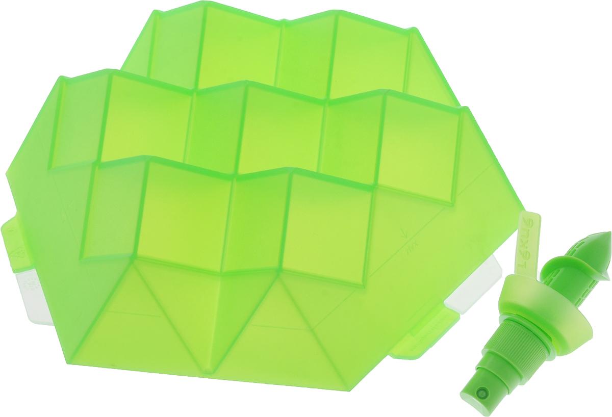 """Набор Lekue """"Коктейль"""", выполненный из 100% пластикового силикона, состоит из формы для льда, цитрус-спрея и буклета с рецептами. Такой набор поможет вам приготовить ваш любимый коктейль с идеальными кубиками льда и свежим послевкусием с цитрусовыми брызгами. Вы можете положить внутрь кубиков льда фрукты, ароматические травы, леденцы для детей и другие ингредиенты.  Размер формы для льда: 24 х 24 х 7 см. Высота цитрус-спрея: 9,5 см."""