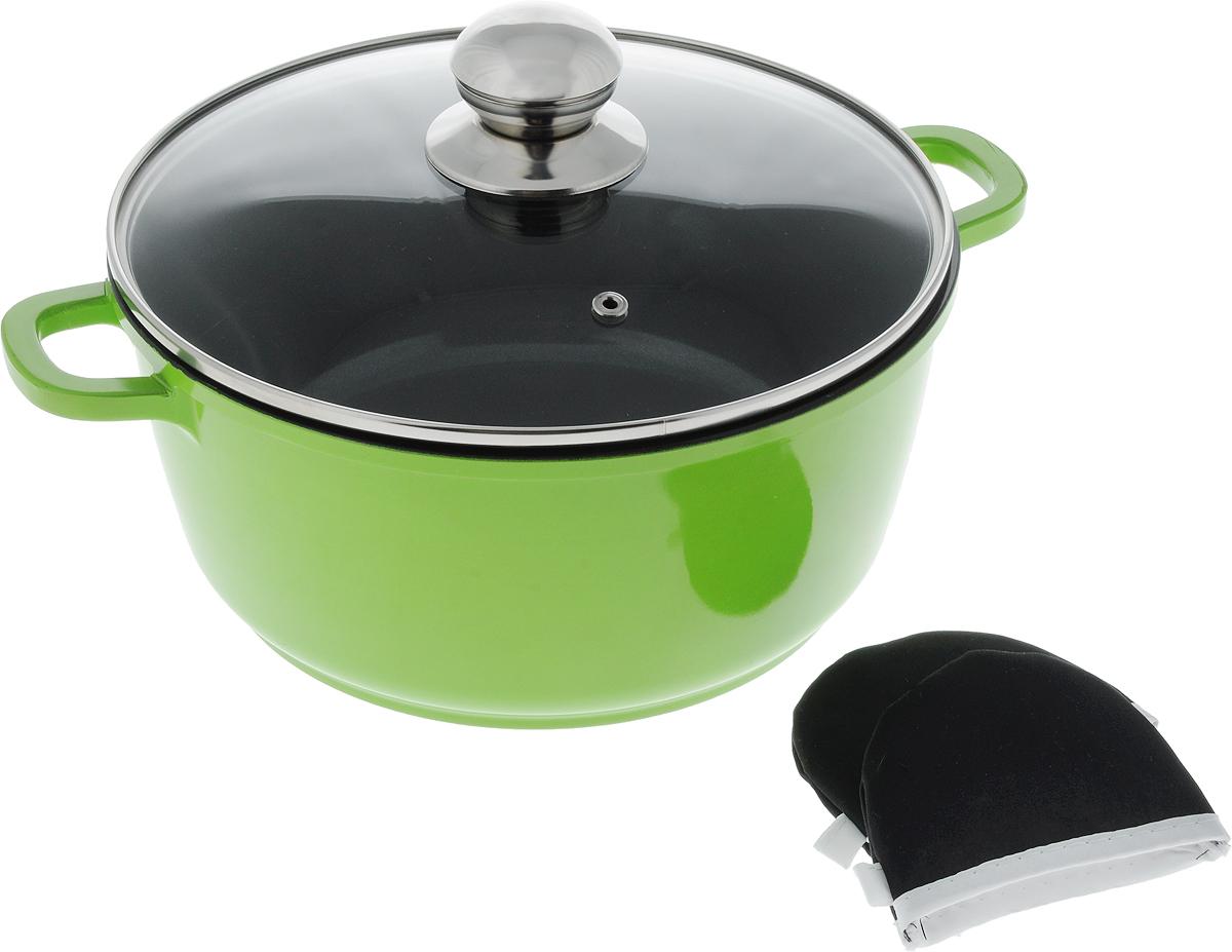 Кастрюля Bohmann с крышкой, с керамическим покрытием, с 2 прихватками, цвет: зеленый, черный, 3,1 л кастрюля добрыня идальго с крышкой с керамическим покрытием 4 2 л