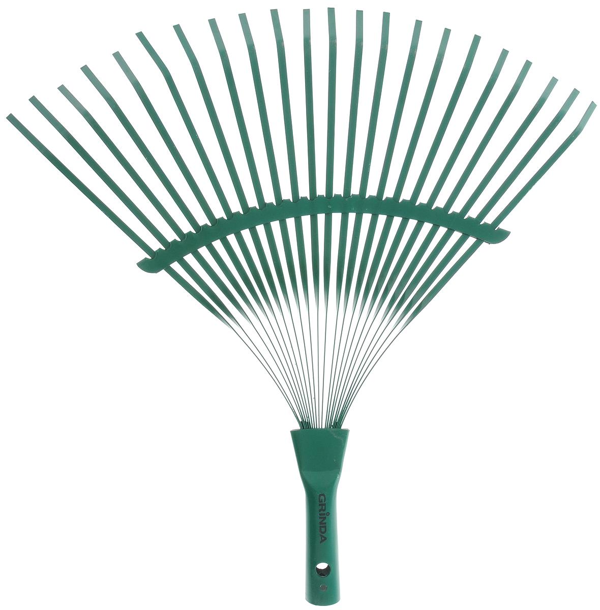 Грабли Grinda, веерные, цвет: зеленый, 22 зуба421877_зеленыйВеерные грабли Grinda изготовлены из прочной углеродистой стали и идеально подходят для уборки листьев, срезанной травы и прочего садового мусора. Благодаря большому количеству зубцов, расположенных по принципу веера, уборка территории будет сделана в короткие сроки. Черенок в комплект не входит.