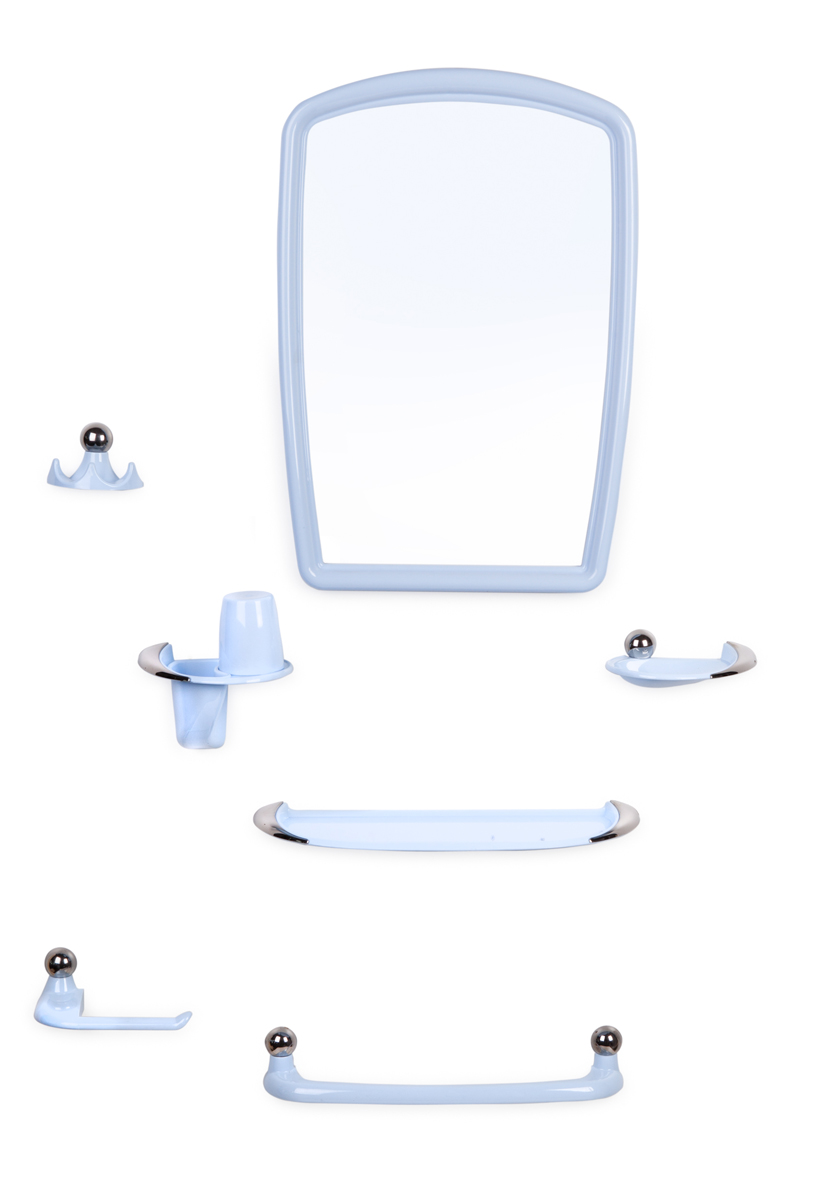 Набор Viva Gracia (светло-голубой с хромированным декором). В комплекте зеркало 380х550 мм, мыльница, удлиненная полка под зеркало, полотенцедержатель, подстаканник со стаканом, тройной крючок. Крепеж зеркала и аксессуаров в комплекте.