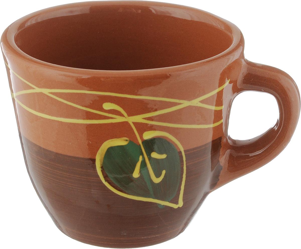 Чашка Борисовская керамика Стандарт, цвет: коричневый, зеленый, 300 млОБЧ00000628_коричневый/листокУдобная чашка Борисовская керамика Стандартпредназначена для повседневного использования. Онавыполнена из высококачественной керамики. Природныесвойства этого материала позволяют долго сохранятьтемпературу напитка, даже, если вы пьете что-то холодное.Внешние стенки чашки оформлены изображением цветка. Диаметр чашки (по верхнему краю): 10 см. Диаметр основания: 5,5 см. Высота чашки: 8,5 см.