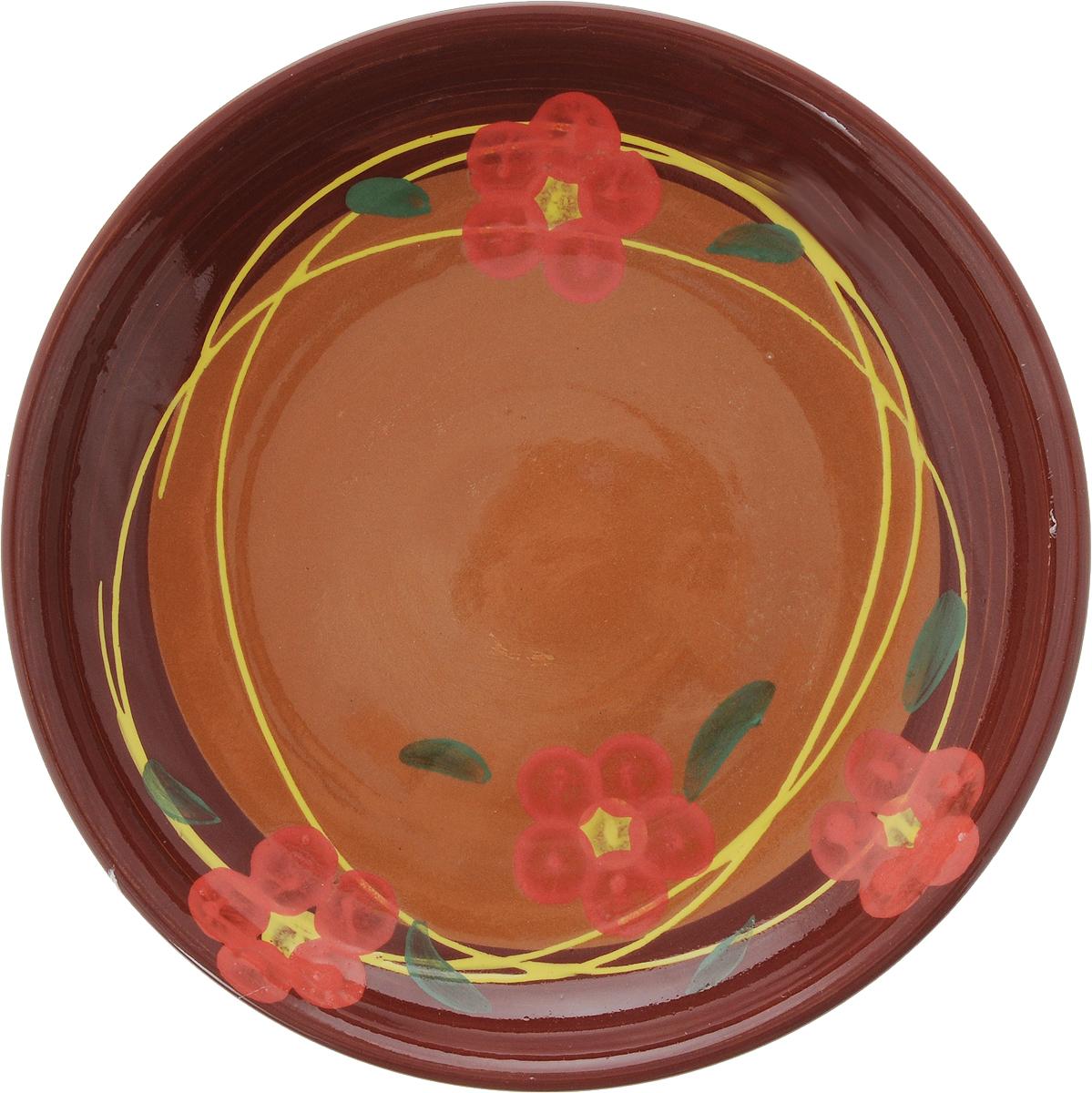 Тарелка Борисовская керамика Cтандарт, цвет: коричневый, розовый, диаметр 18 смОБЧ00000454_коричневый/розовые цветочкиТарелка Борисовская керамика Cтандарт выполнена из высококачественной керамики с покрытием пищевой глазурью. Изделие отлично подходит для подачи вторых блюд, сервировки нарезок, закусок, овощей и фруктов. Такая тарелка отлично подойдет для повседневного использования. Она прекрасно впишется в интерьер вашей кухни. Посуда термостойкая, можно использовать в духовке и в микроволновой печи. Диаметр тарелки (по верхнему краю): 18 см. Высота стенки: 3 см.