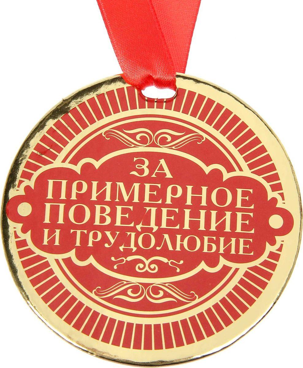 Медаль сувенирная За примерное поведение и трудолюбие, диаметр 9 см1233373Медаль — один из самых популярных видов наград! Обрадуйте близких признанием их заслуг. Получателя приятно удивит яркий дизайн изделия: изображение золотого цвета, поздравительное стихотворение на обороте и лента, которая входит в набор.