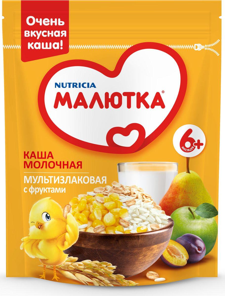 Малютка каша молочная мультизлаковая с фруктами, с витаминами и минералами, с 6 месяцев, 220 г, Детское питание  - купить со скидкой