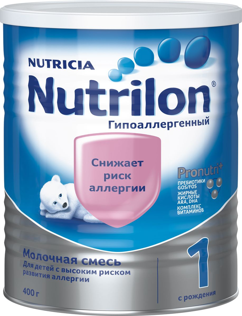 Nutrilon ГА 1 специальная молочная смесь, гипоаллергенная PronutriPlus, с рождения, 400 г8712400737029Молочная смесь Nutrilon (Нутрилон) Гипоаллергенный 1 с рождения 400 г Молочная смесьNutrilon Гипоаллергенный 1 специально разработана для снижения риска возникновения пищевой аллергии, так как частично содержит гидролизованный белок. Содержит комплекс Pronutriplus способствующий развитию иммунитета и интеллекта ребенка. Комплекс Pronutriplus включает Особые жирные кислоты ARA, DHA для развития интеллекта, пребиотики Gos/Fos, которые помогают развитию здоровой микрофлоры кишечника, поддержанию иммунитета, помогая снижать риск возникновения аллергии и инфекций, и комплекс витаминов. Благодаря уникальному комплексу ингредиентов PronutriPlus, Nutrilon Гипоаллергенный 1 способствует развитию иммунитета и интеллекта, помогая Вашему ребенку развиваться.