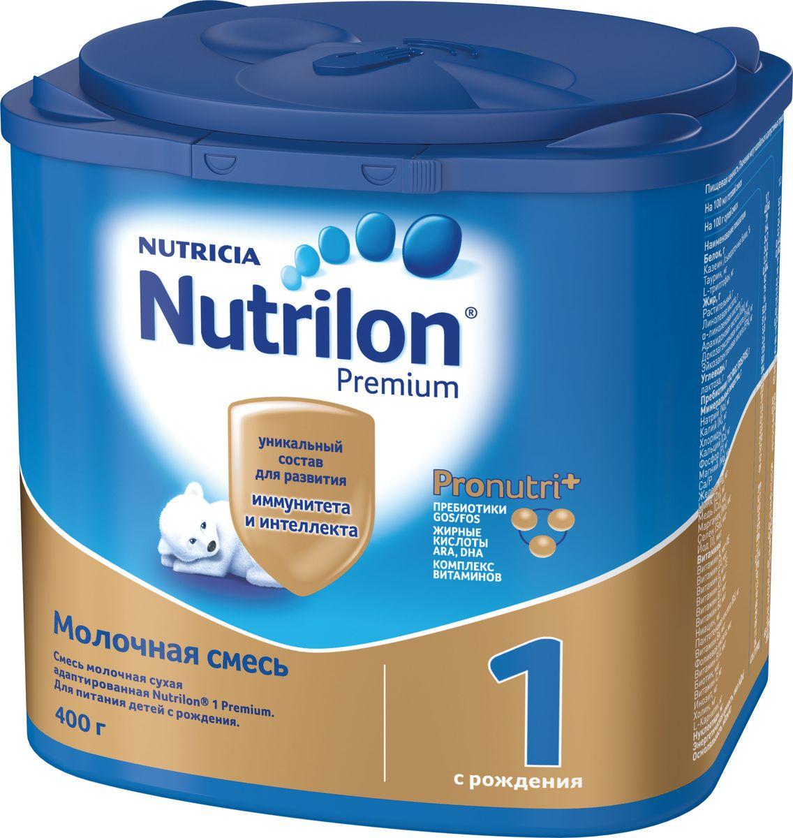 Nutrilon Премиум 1 молочная смесь PronutriPlus, с рождения, 400 г фруктовые чипсы fitfruits груша 20 г