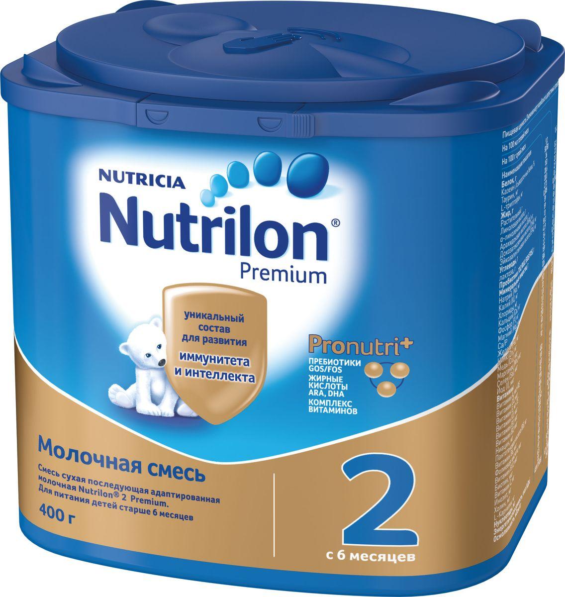 Nutrilon Премиум 2 молочная смесь PronutriPlus, с 6 месяцев, 400 г nutrilon премиум 1 молочная смесь pronutriplus с рождения 800 г