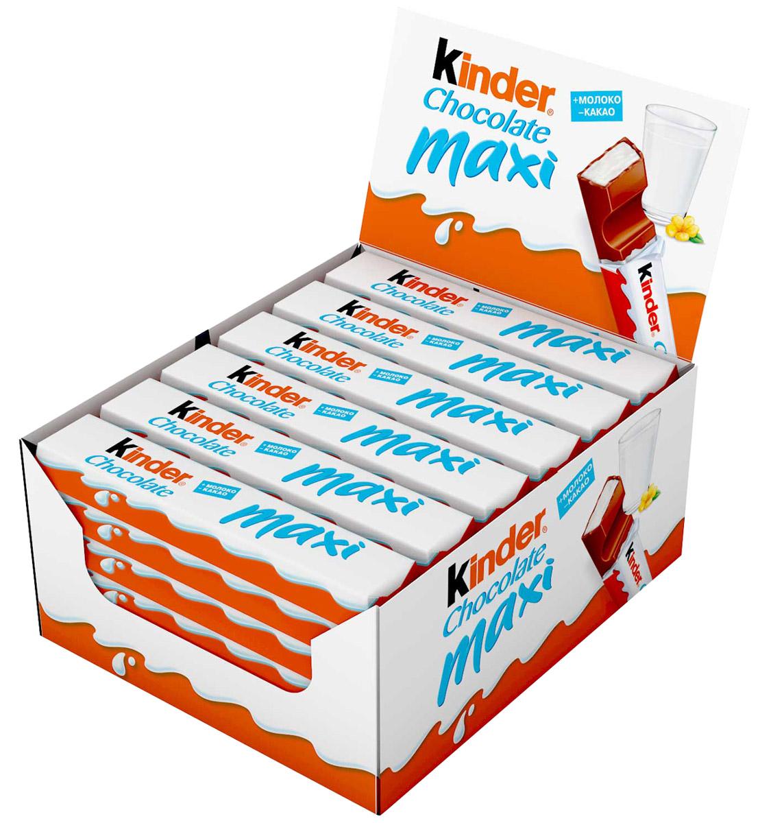 Kinder Chocolate Maxi шоколадный батончик молочный, 36 шт по 21 г kinder choco bons конфеты из молочного шоколада с молочно ореховой начинкой 46 г