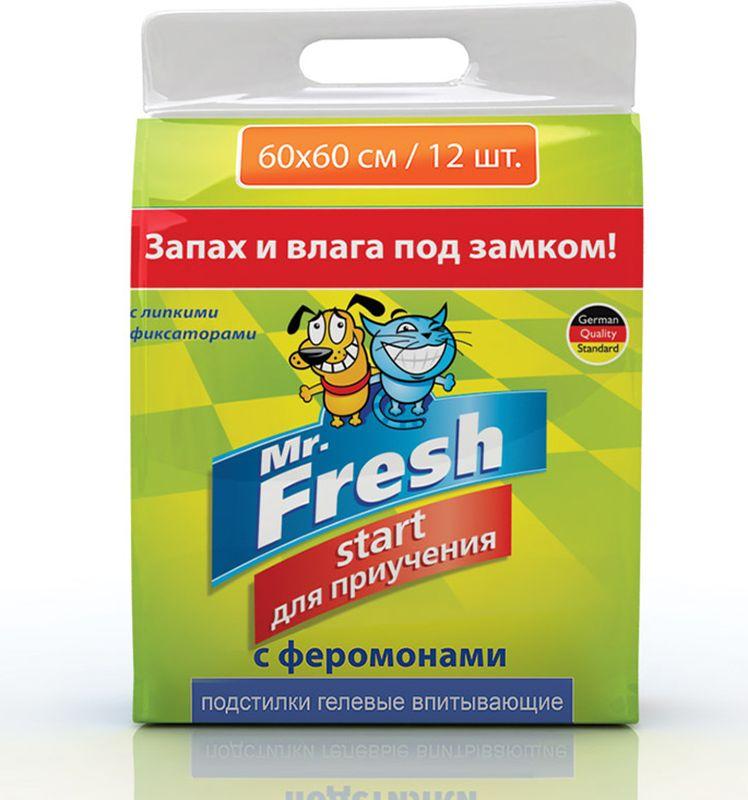 """Подстилки для домашних животных Mr.Fresh """"Start"""", гелевые, на липучках, 60 х 60 см, 12 шт"""