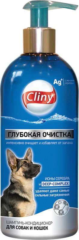 """Шампунь-кондиционер Cliny """"Глубокая очистка"""" для собак и кошек, 300 мл"""