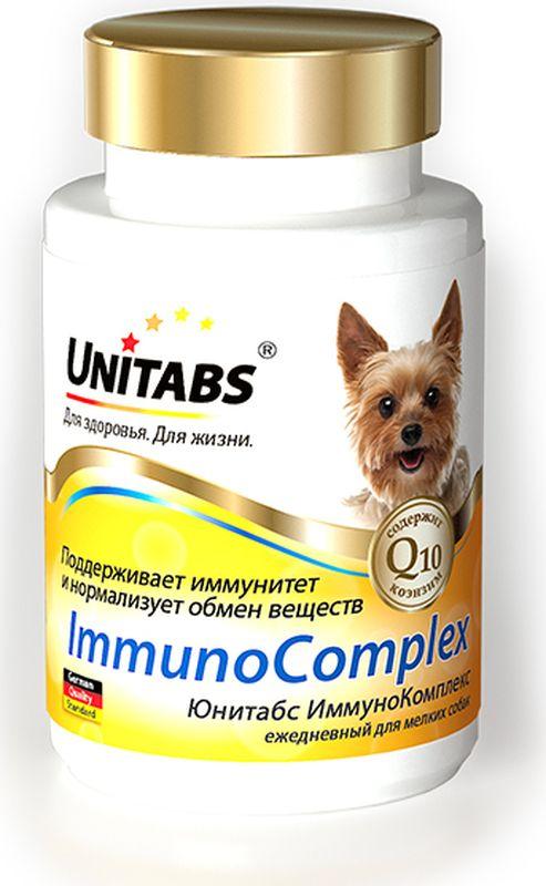 Витамины Unitabs ImmunoComplex, для мелких собак, 100 таблетокU206Витамины Unitabs ImmunoComplex – это серия витаминно-минеральных комплексов для собак всех возрастов и пород, которые содержат коэнзим Q10 и все необходимые витамины, макро- и микроэлементы.Формулы витаминно-минеральных комплексов Unitabs разработаны совместно с фирмой Veterinary Bio (Германия) и соответствуют европейскому стандарту качества.ImmunoComplex для мелких собак, 100 таб.Укрепляет иммунную систему. Снижает риск заболеваний. Восполняет баланс витаминов и микроэлементов. Нормализует обмен веществ.Юнитабс ИммуноКомплекс применяют собакам в возрасте от 12 месяцев до 7 лет для поддержания иммунитета и нормализации обмена веществ.Добавку вводят в корм собакам или задают перорально с руки, ежедневно из расчета 1 таблетка на 5 кг массы тела. Курс применения не ограничен.