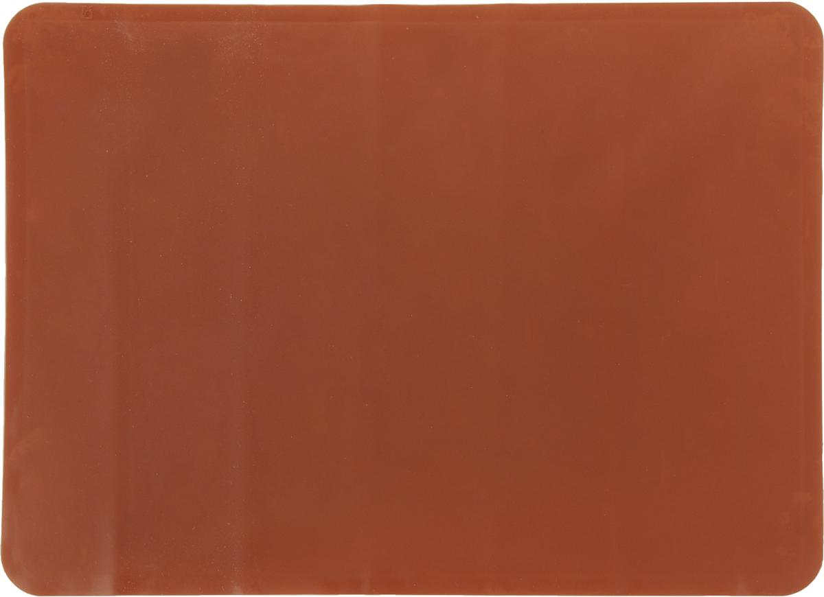 Коврик для теста Marmiton, цвет: коричневый, 38 х 28 см16065_коричневыйКоврик Marmiton выполнен из пищевого силикона. Материал устойчив к фруктовым кислотам, к воздействию низких и высоких температур, не взаимодействует с продуктами и не впитывает запахи как при нагревании, так и при заморозке. Изделие обладает естественными антипригарными свойствами, идеально подходит для раскатки теста. Коврик можно использовать в духовках и микроволновых печах при температуре от -40°С до +230°С.