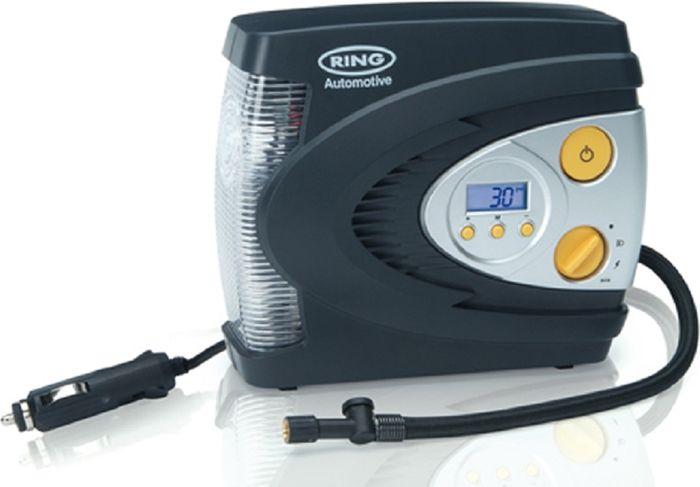 Компрессор автомобильный Ring Automotive RAC630, цифровой, с фонаремRAC630Автоматический цифровой компрессор английской компании Ring Automotive выполнен со встроенным светодиодным фонарем. Компрессор работает от 12В разъема типа прикуриватель, максимальное потребление тока 10 А. Имеется режим предварительного выбора давления и автоматическое отключение. Встроенный белый индикатор для освещения в темное время суток, и красный для предупреждения в случае поломки или аварийной ситуации. Производительность 28 -30 л/мин.Единицы измерения манометра: фунт/кв. дюйм, кПа, бар. В комплекте удобный чехол для хранения и аксессуары для накачки мячей, шин велосипедов, матрасов и др.
