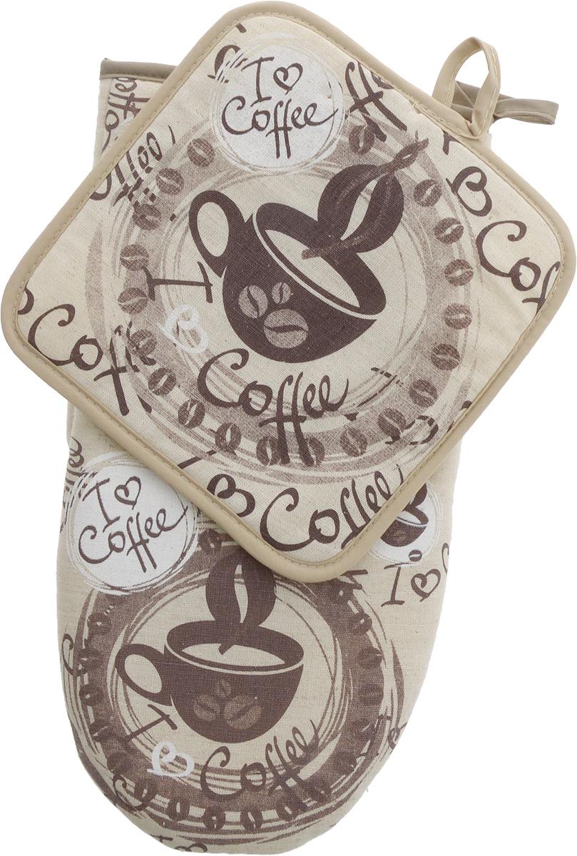 Набор кухонный LarangE От Шефа. Кофе, 2 предмета627-001_кофе/без шелкаНабор кухонный LarangE От Шефа. Кофе состоит из варежки и прихватки. Изделия выполнены из льна с добавлением хлопка. В качестве наполнителя используется поролон. Домашний текстиль из натурального льна - не просто следование модной тенденции к естественности. Лен - это одно из самых ценных волокон растительного происхождения. Его уникальные свойства наделяют ткань ценными качествами. Льняная ткань - самая прочная и экологичная. Она практически не выгорает на прямом солнце, легко стирается и, при этом, не садится и не деформируется. Такой набор защитит ваши руки от горячих предметов на кухне. Размер прихватки: 18 х 18 см. Размер варежки: 29 х 15 см.