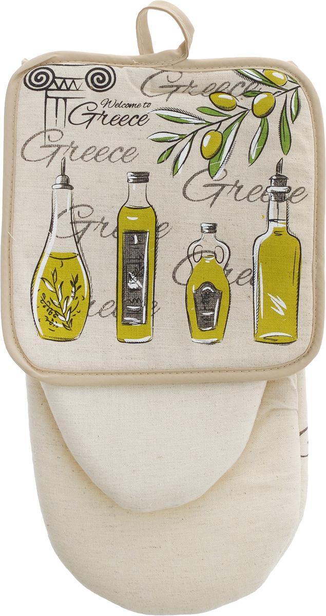 Набор кухонный LarangE От Шефа. Оливки, 2 предмета627-001_оливки/без шелкаНабор кухонный LarangE От Шефа. Оливки состоит из варежки и прихватки. Изделия выполнены изо льна с добавлением хлопка. В качестве наполнителя используется поролон. Домашний текстиль из натурального льна - не просто следование модной тенденции к естественности. Лен - это одно из самых ценных волокон растительного происхождения. Его уникальные свойства наделяют ткань ценными качествами. Льняная ткань - самая прочная и экологичная. Она практически не выгорает на прямом солнце, легко стирается и, при этом, не садится и не деформируется. На изделия методом шелкографии нанесен оригинальный рисунок. Такой набор защитит ваши руки от горячих предметов на кухне. Размер прихватки: 18 х 18 см. Размер варежки: 29 х 15 см.
