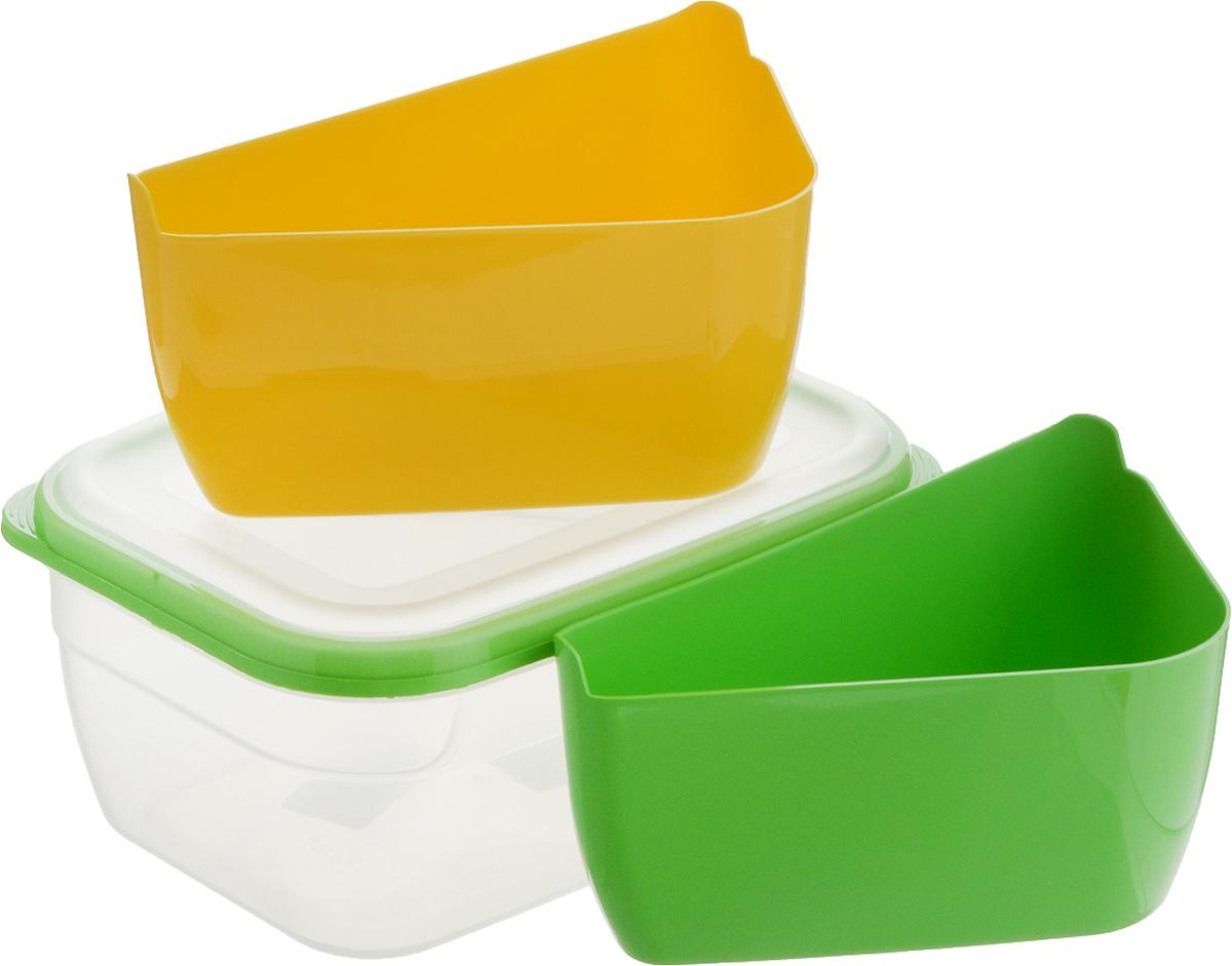 Контейнер-менажница для СВЧ Полимербыт, цвет: желтый, салатовый, 1,8 л контейнер для свч менажница квадратный 2 2 л