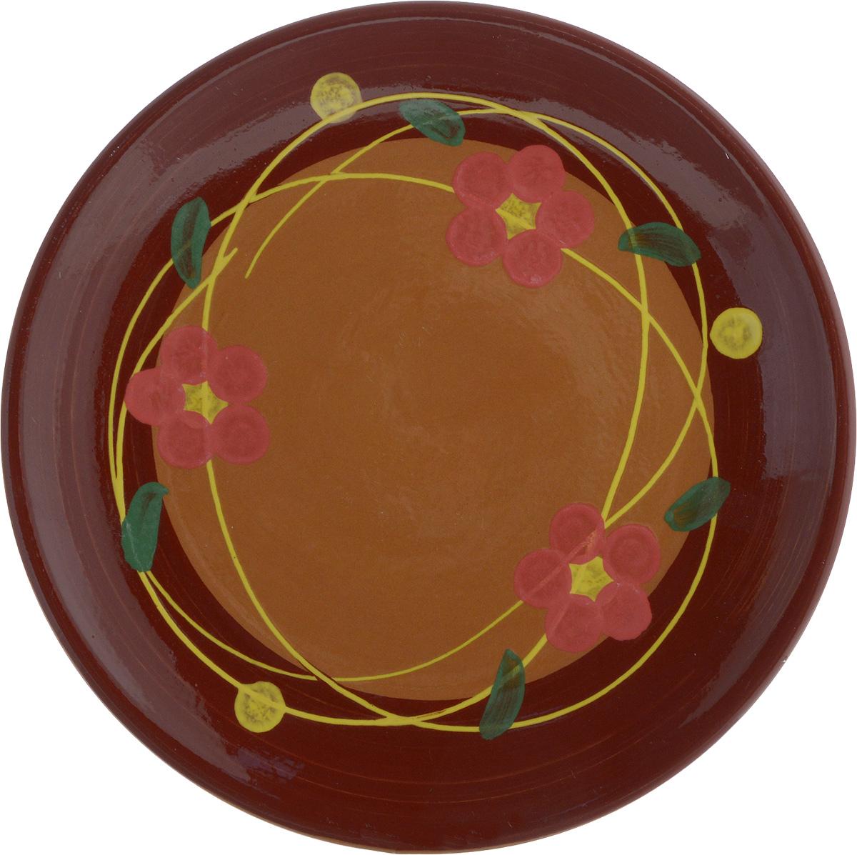Тарелка Борисовская керамика Cтандарт, цвет: коричневый, розовый, диаметр 22 смОБЧ00000586_коричневый/розовые цветочкиТарелка Борисовская керамика Cтандарт выполнена из высококачественнойкерамики с покрытием пищевой глазурью. Изделие отлично подходит для подачи вторых блюд,сервировки нарезок, закусок, овощей и фруктов. Такая тарелка отлично подойдет дляповседневного использования. Она прекрасно впишется в интерьер вашей кухни.Посуда термостойкая, можно использовать в духовке и в микроволновой печи.Диаметр тарелки (по верхнему краю): 22 см.Высота стенки: 2,5 см.