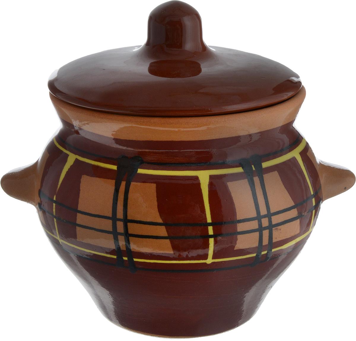 Горшок для жаркого Борисовская керамика Cтандарт, цвет: коричневый, желтый, черный, 500 млОБЧ00000338_коричневый, желтый, черныйГоршок для жаркого Борисовская керамика Стандарт выполнен из высококачественной керамики. Керамика абсолютно безопасна, поэтому изделие придется по вкусу любителям здоровой и полезной пищи. Горшок для запекания с крышкой очень вместителен и имеет удобную форму. Идеально подходит для одной порции. Уникальные свойства красной глины и толстые стенки изделия обеспечивают эффект русской печи при приготовлении блюд. Это значит, что еда будет очень вкусной, сочной и здоровой.Посуда жаропрочная. Можно использовать в духовке и микроволновой печи.Диаметр горшочка (по верхнему краю): 9,5 см. Высота горшочка (без учета крышки): 9,5 см.