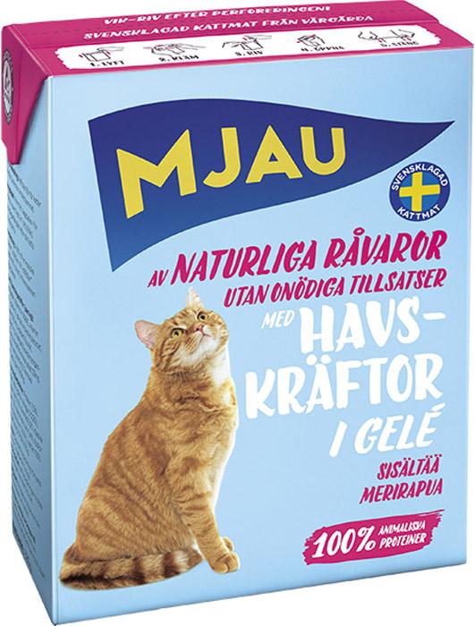 Консервы Mjau для кошек, мясные кусочки в желе с лангустом, 380 г набор консервов mjau мясной микс для кошек мясные кусочки в желе 12 шт х 85 г