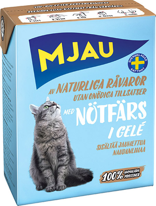 Консервы Mjau для кошек, мясные кусочки в желе с рубленой говядиной, 380 г64416Полнорационное влажное питание Mjau мясные кусочки в желе с рубленой говядиной, премиум класса для кошек. Консервы стерилизуются прямо в картонной упаковке, благодаря чему остаются свежими в течение 24 месяцев, не меняя своих вкусовых качеств. Нормы кормления индивидуальны и зависят от активности и степени упитанности животного.Хранение при комнатной температуре. Состав: мясо и мясопродукты (в т.ч. говядина 5 % в каждом кусочке), минеральные вещества. Натуральные ингредиенты. Добавки на кг: пищевые добавки: витамин А 1700 МЕ, витамин D3 170 МЕ, витамин Е (рацемический-токоферола ацетат) 10 мг, таурин 500 мг, сульфат меди (II) пентагидрат 7 мг; оксид марганца (II)/оксид марганца (III) 2мг; сульфат цинка, моногидрат 33 мг, йодат кальция безводный 1 мг. Анализ: белок 7,5%, жир 5,5%, сырая клетчатка 0,2%, минеральные вещества (сырая зола) 2% (в т.ч. кальций 0,4%, фосфор 0,3%, магний 0,02%), влага 83%. Технические добавки: коричная смола 1180 мг. Энергетическая ценность: 300 кДж/100 г. Дневной рацион для взрослой кошки весом 3-4 кг: 380 г. Товар сертифицирован.