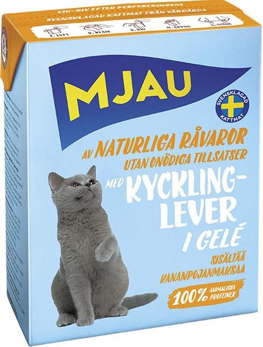 Консервы Mjau для кошек, мясные кусочки в желе с куриной печенью  , 380 г минеральные добавки серии северянка в москве