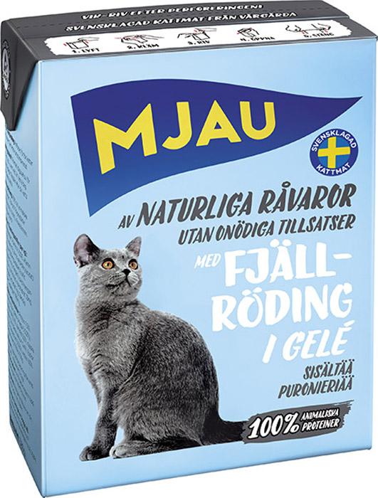 Консервы Mjau для кошек, мясные кусочки в желе с арктическим лососем, 380 г консервы васька для кошек с лососем в желе 100 г