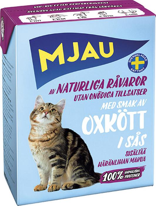 Консервы Mjau для кошек, мясные кусочки в соусе с говядиной, 380 г64420Полнорационное влажное питание Mjau паштет из мясных кусочков в соусе с говядиной, премиум класса для кошек. Консервы стерилизуются прямо в картонной упаковке, благодаря чему остаются свежими в течение 24 месяцев, не меняя своих вкусовых качеств. Нормы кормления индивидуальны и зависят от активности и степени упитанности животного.Хранение при комнатной температуре. Состав: мясо и мясопродукты (в т.ч. говяжья печень 10% в каждом кусочке, говядина 2% в каждом кусочке), минеральные вещества. Добавки на кг: пищевые добавки: витамин А 1700 МЕ, витамин D3 170 МЕ, витамин Е (рацемический ?- токоферола ацетат) 10 мг, таурин 500 мг, сульфат меди (II) пентагидрат 7 мг; оксид марганца (II)/оксид марганца (III) 2мг; сульфат цинка, моногидрат 33 мг, йодат кальция безводный 1 мг. Энергетическая ценность: 300 кДж/100 г. Дневной рацион для взрослой кошки весом 3-4 кг: 370 г. Анализ: белок 7,5%, жир 5,5%, сырая клетчатка 0,2%, минеральные вещества (сырая зола) 2% (в т.ч. кальций 0,4%, фосфор 0,3%, магний 0,02%), влага 83%.Товар сертифицирован.