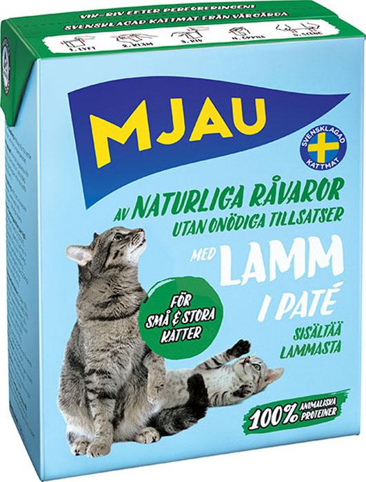 Консервы Mjau для кошек, мясной паштет с ягненком, 380 г64421Полнорационное влажное питание Mjau мясной паштет с ягненком, премиум класса для кошек. Консервы стерилизуются прямо в картонной упаковке, благодаря чему остаются свежими в течение 24 месяцев, не меняя своих вкусовых качеств. Нормы кормления индивидуальны и зависят от активности и степени упитанности животного.Хранение при комнатной температуре. Состав: мясо и мясопродукты (в т.ч. мясо ягненка 4%), минеральные вещества. Добавки на кг: пищевые добавки: витамин А 2000 МЕ, витамин D3 200 МЕ, витамин Е (рацемический - токоферола ацетат) 12 мг, таурин 500 мг, сульфат меди (II) пентагидрат 8 мг; оксид марганца (II)/оксид марганца (III) 2,5 мг; сульфат цинка, моногидрат 40 мг, йодат кальция безводный 1 мг. Энергетическая ценность: 315кДж/100 г. Дневной рацион для взрослой кошки весом 3-4 кг: 380г. Анализ: белок 9%, жир 5,5%, сырая клетчатка 0,5%, минеральные вещества (сырая зола) 2% (в т.ч. кальций 0,3%, фосфор 0,25%, магний 0,02%), влага 82%. Товар сертифицирован.