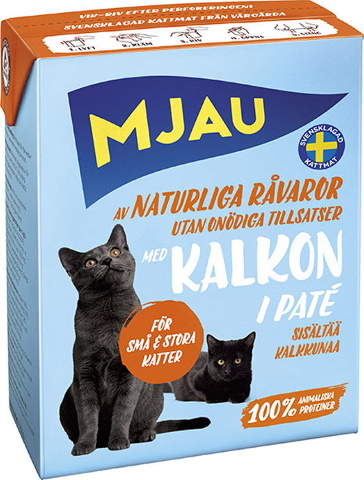 Консервы Mjau для кошек, мясной паштет с индейкой, 380 г64422Полнорационное влажное питание Mjau мясной паштет с индейкой, премиум класса для кошек. Консервы стерилизуются прямо в картонной упаковке, благодаря чему остаются свежими в течение 24 месяцев, не меняя своих вкусовых качеств. Нормы кормления индивидуальны и зависят от активности и степени упитанности животного.Хранение при комнатной температуре. Состав: мясо и мясопродукты (в т.ч. мясо индейки 4%), минеральные вещества. Добавки на кг: пищевые добавки: витамин А 2000 МЕ, витамин D3 200 МЕ, витамин Е (рацемический - токоферола ацетат) 12 мг, таурин 500 мг, сульфат меди (II) пентагидрат 8 мг; оксид марганца (II)/оксид марганца (III) 2,5 мг; сульфат цинка, моногидрат 40 мг, йодат кальция безводный 1 мг. Энергетическая ценность: 315 кДж/100 г. Дневной рацион для взрослой кошки весом 3-4 кг: 380 г. Анализ: белок 9%, жир 5,5%, сырая клетчатка 0,5%, минеральные вещества (сырая зола) 2% (в т.ч. кальций 0,3%, фосфор 0,25%, магний 0,02%), влага 82%.Товар сертифицирован.