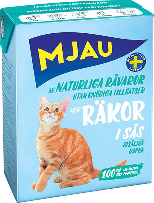 Консервы Mjau для кошек, мясные кусочки в соусе с креветками, 380 г64423Полнорационное влажное питание Mjau паштет с мясными кусочками в соусе с креветками, премиум класса для кошек. Консервы стерилизуются прямо в картонной упаковке, благодаря чему остаются свежими в течение 24 месяцев, не меняя своих вкусовых качеств. Нормы кормления индивидуальны и зависят от активности и степени упитанности животного.Хранение при комнатной температуре. Состав: мясо и мясопродукты, моллюски и ракообразные (в т.ч. креветки 4% в каждом кусочке), минеральные вещества.Добавки на кг: пищевые добавки: витамин А 1700 МЕ, витамин D3 170 МЕ, витамин Е (рацемический - токоферола ацетат) 10 мг, таурин 500 мг, сульфат меди (II) пентагидрат 7 мг; оксид марганца (II)/оксид марганца (III) 2мг; сульфат цинка, моногидрат 33 мг, йодат кальция безводный 1 мг. Энергетическая ценность: 300 кДж/100 г. Дневной рацион для взрослой кошки весом 3-4 кг: 370 г. Анализ: белок 7,5%, жир 5,5% (омега-3 0,2%), сырая клетчатка 0,2%, минеральные вещества (сырая зола) 2% (в т.ч. кальций 0,4%, фосфор 0,3%, магний 0,02%), влага 83%. Товар сертифицирован.