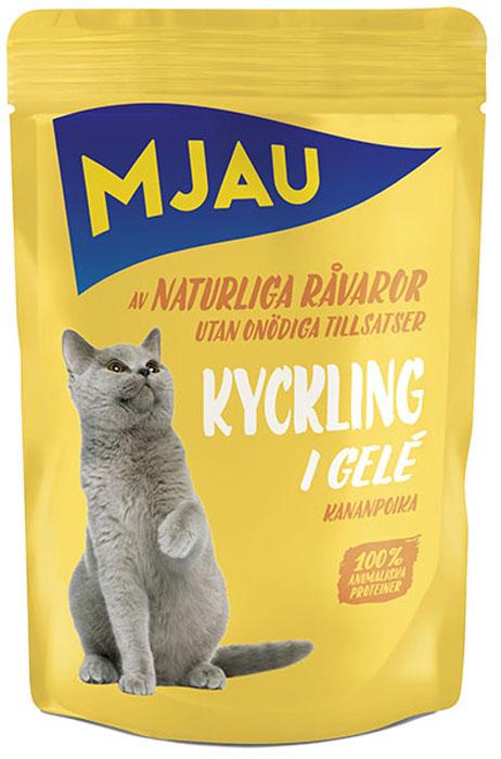 Консервы Mjau для кошек, мясные кусочки в желе с курицей, 85 г минеральные добавки серии северянка в москве